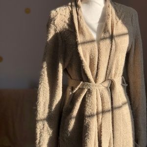 The Limited Beige Long Cardigan with Tie Belt